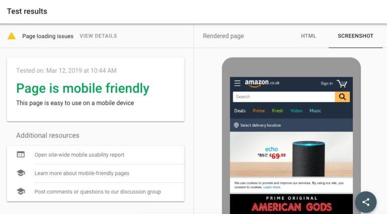 Mobile-friendly Test screenshot
