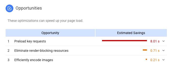 PageSpeed Insights 'Opportunities' report screenshot