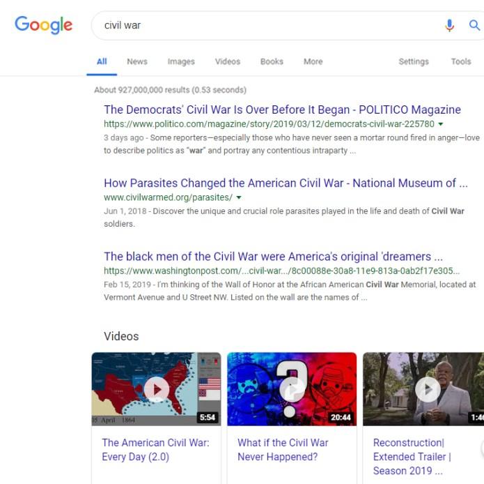 Google SERP For Civil War Based On Freshness