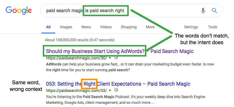 Google matches a query to a listing that doesn't share words, but has the same meaning.