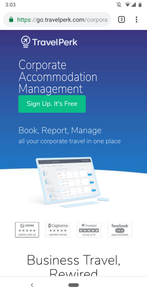 Travel Perk Mobile Landing Page