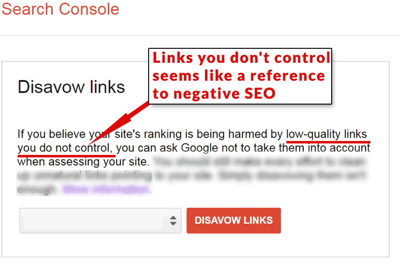 Screenshot of Google's disavow tool