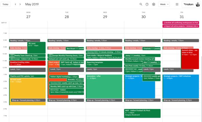 Google Calendar Tasks example