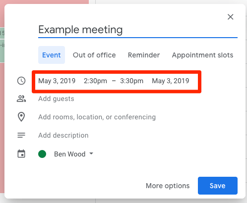 Default event length in Google Calendar