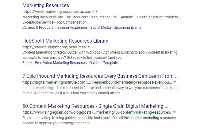Marketing Resources SERPs