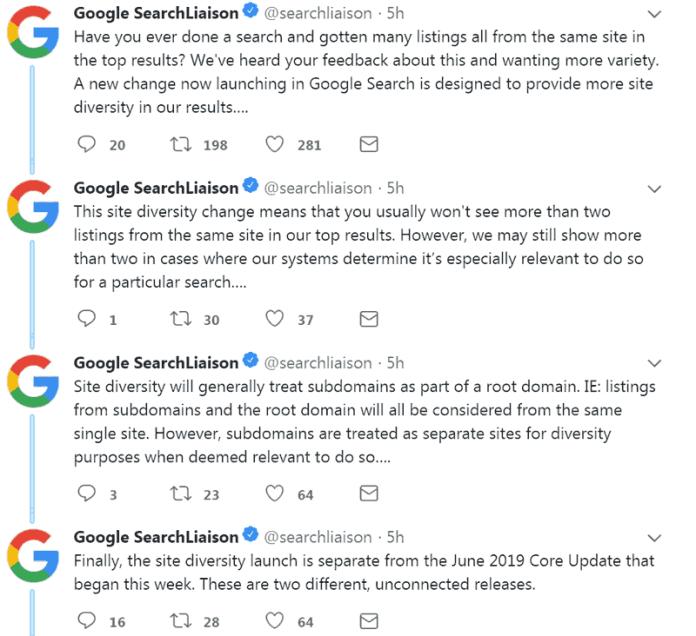 Screenshot of Google's official tweet announcing site diversity change