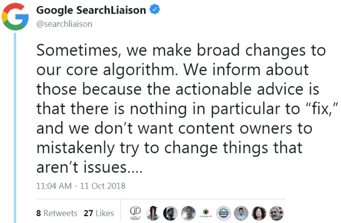 Screenshot of official Google guidance that advises there is nothing to fix in response to Google broad core algorithm updates