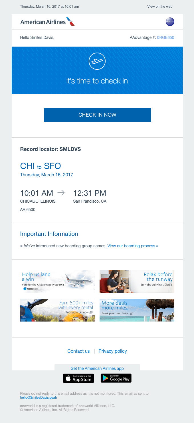American Airlines email