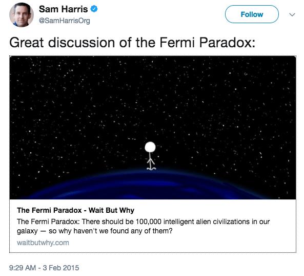 Sam Harris tweet