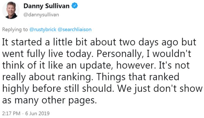 Screenshot of tweet by Google's Danny Sullivant