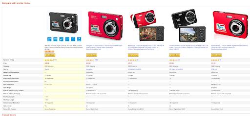Amazon Product Comparison Table