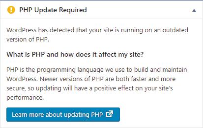 Screenshot of a WordPress Update Notice Widget, also known as a Nag Screen