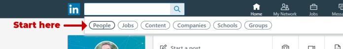 LinkedIn search by publication - Step 1