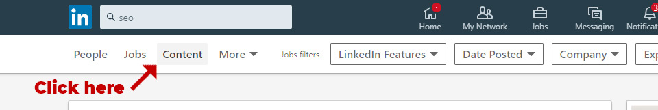 LinkedIn search by content - Step 1