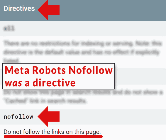 Screenshot of Google's developer page that calls the meta robots nofollow a directive