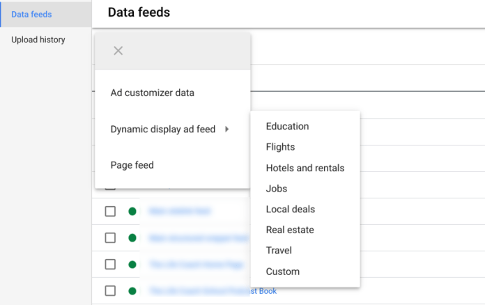 google ads screenshot of dynamic display ad feed dropdown