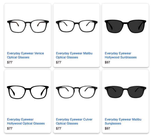 dynamic remarketing example of eye glass ads