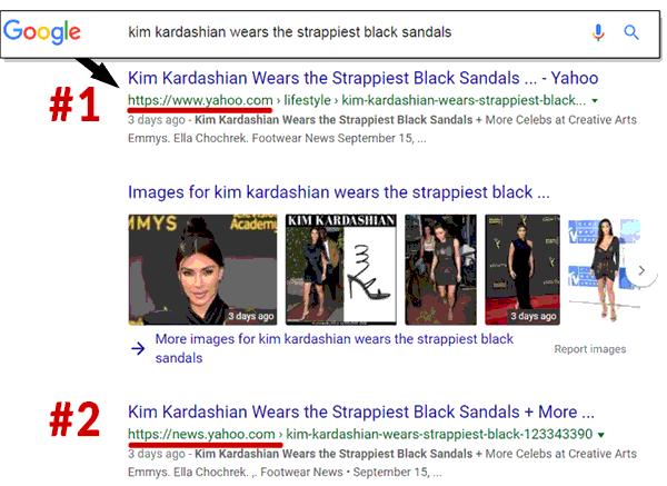 Screenshot of Google search results showing a bias toward Yahoo News
