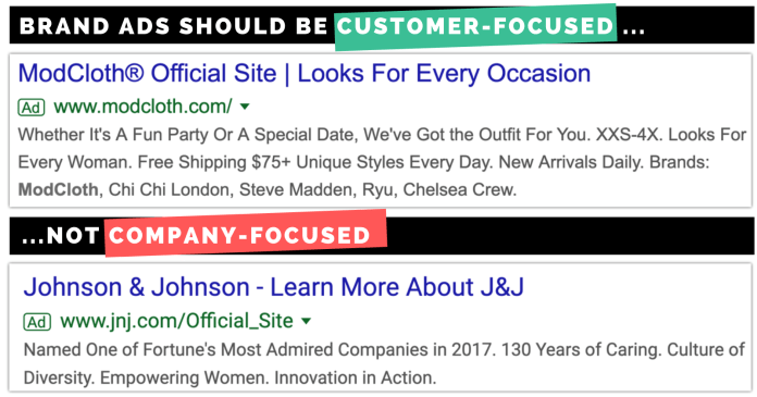 screen shots of customer-focused and company-focused ads