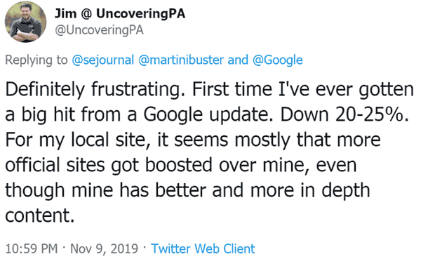 tweet by publisher frustrated by Google's November 2019 algorithm update