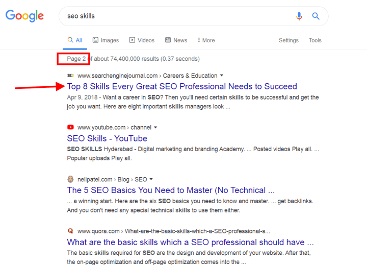 Featured Snippet Webpage Now Appears in Position 11 on Page 2 of Google