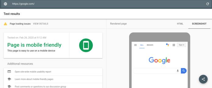 Google's Mobile Friendly Test
