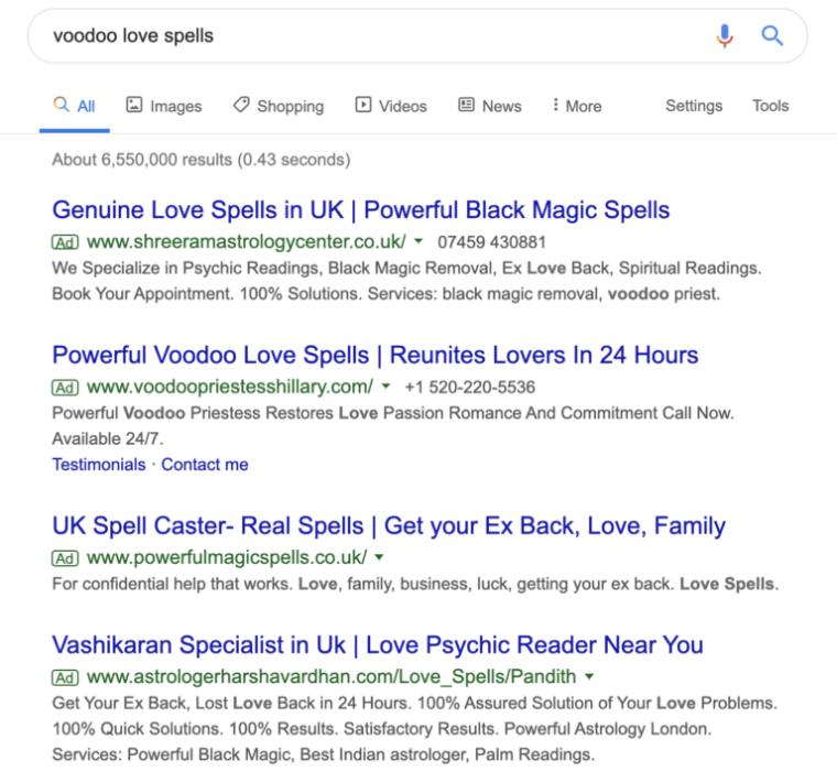 Voodoo love spells Google ad