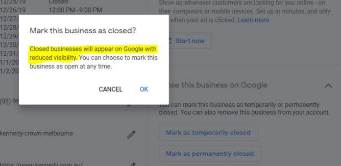 Google: Marking a Business 'Temporarily Closed' Doesn't Impact Rankings
