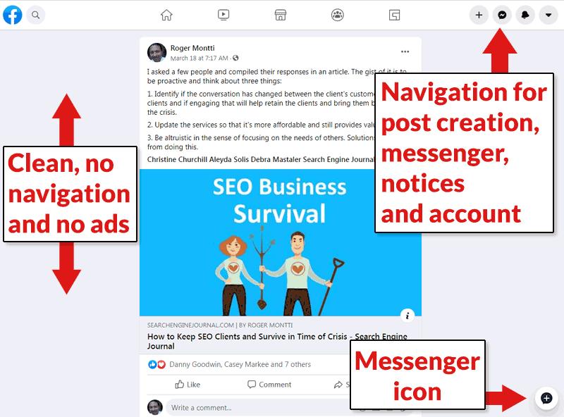 Screenshot of a single post