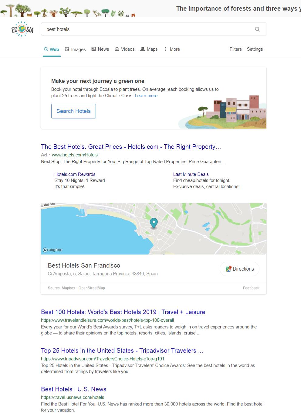 Ecosia search engine.
