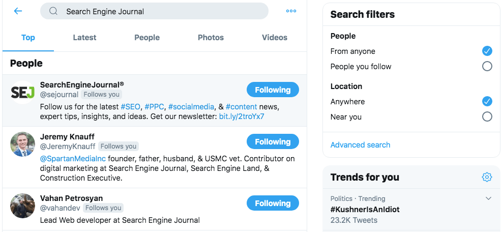 Twitter search.