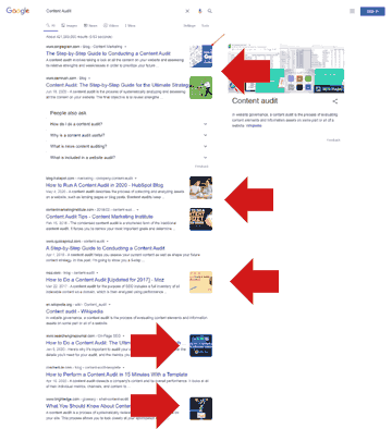 Screenshot of Google's search results with thumbnail images