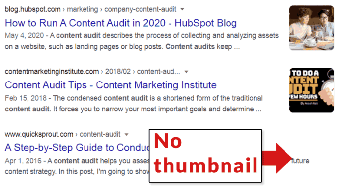 Screenshot of an experimental Google Search result that features thumbnail images