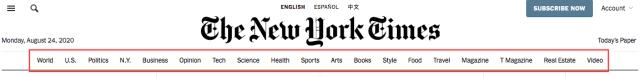 New York Times primary navigation