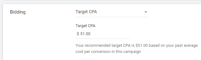 Target CPA Setup
