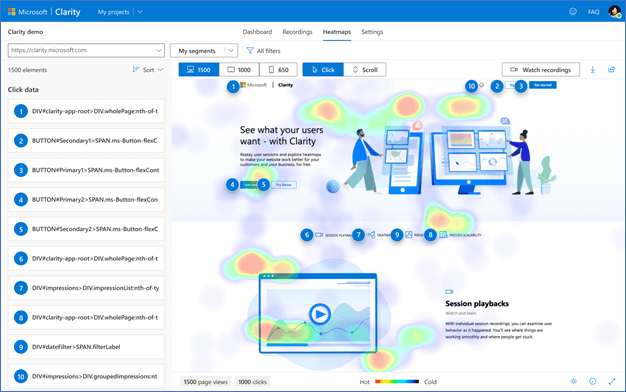 Screenshot of Microsoft Clarity Heatmap