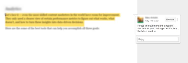 Google Docs text comment