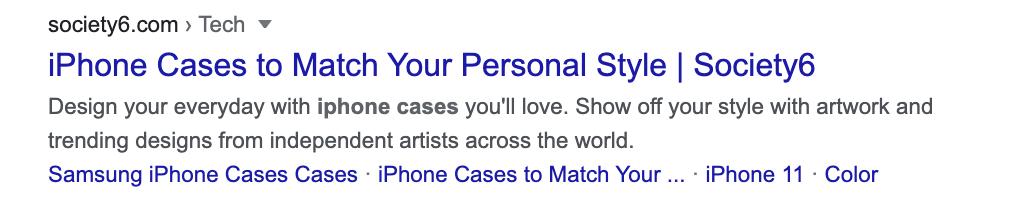 Society6 iPhone Case meta description