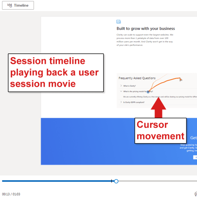 Screenshot of Session Timeline