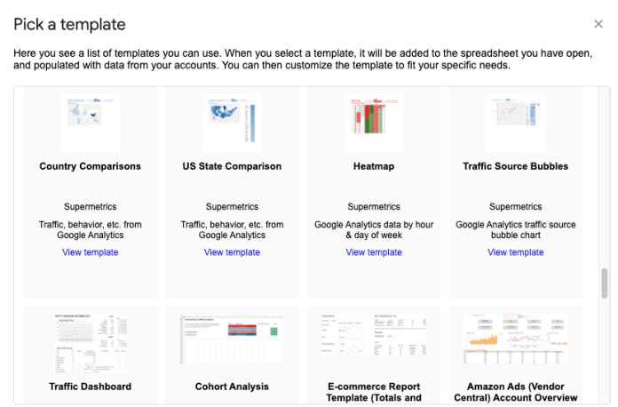 Supermetrics templates