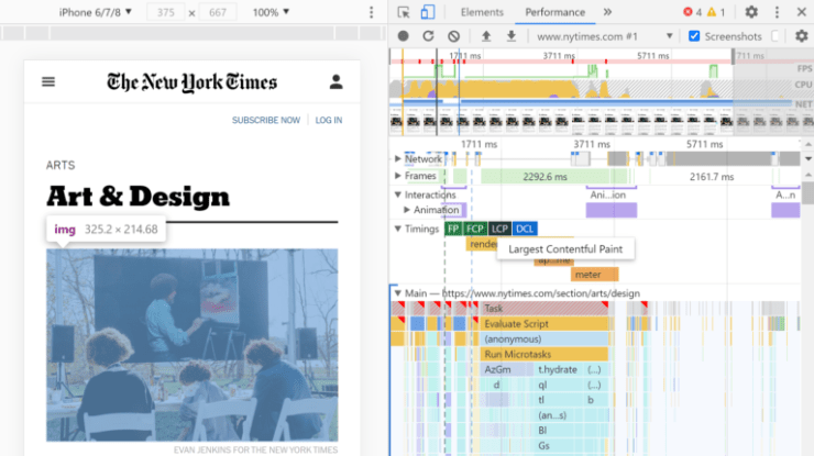Inspecting a page's LCP element in Chrome DevTools