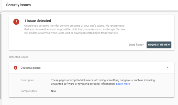 Google Search Console Security Issues report