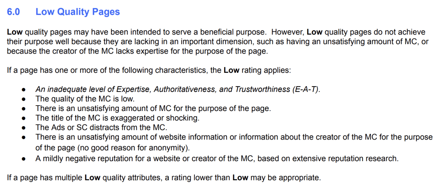Quality Rater Guidelines UX Section 6.0