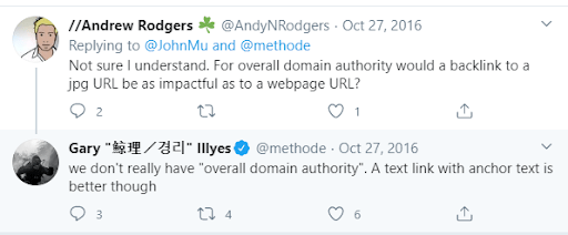 tweet confirming overall domain authority myth