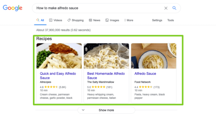 You can see these featured snippets for recipes because I asked a question in the search box.