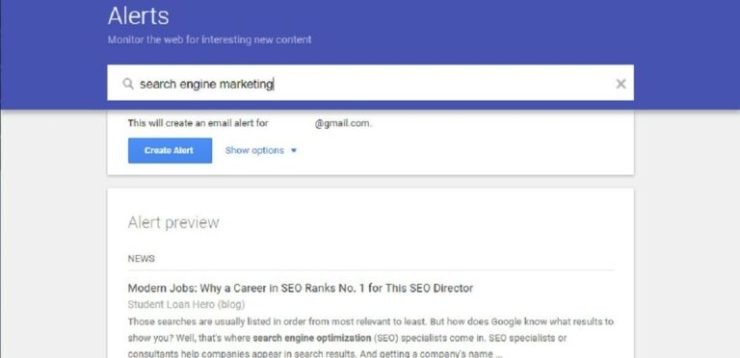 Use Google Alerts for online reputation monitoring