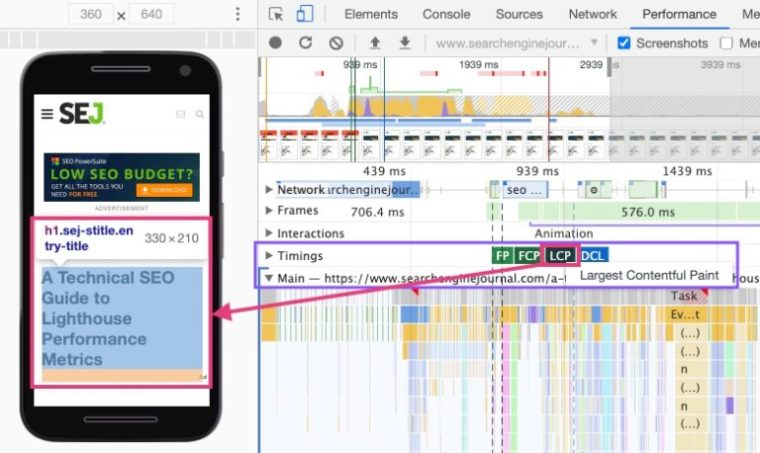 How to identify LCP using Chrome DevTools
