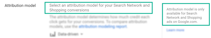 screen shot of the text shown when the attribution model is changed