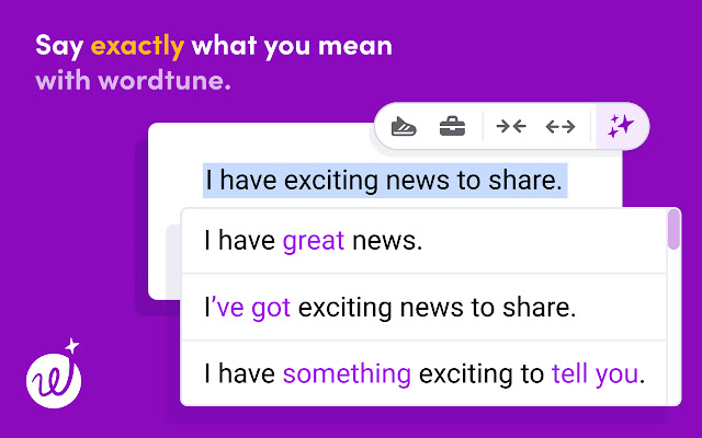 Homepage of Wordtune.