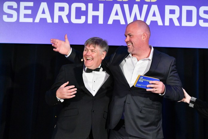 Winner celebrating at the 2019 US Search Awards